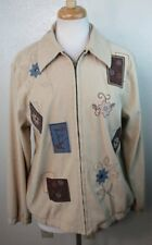ALFRED DUNNER WOMENS 12 LARGE L JACKET FULL ZIP EMBROIDERED FLORAL ALL SEASONS