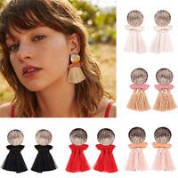 Vintage Bohemian Earring Women Ladies Long Tassel Fringe Dangle Ear Stud Jewelry