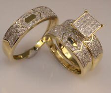 Yellow Gold Over Lab Diamond Bridal Engagement Ring His And Her Trio Wedding Set