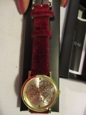 "AVON Festive Holiday Watch Red Velvet 9""L Strap with Bells Gold tone Face & Ends"