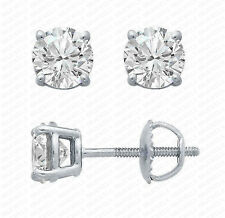 1Ct Round Brilliant Cut Diamond Stud Earrings 14K White Gold Over Screw Back