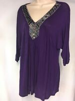 Romeo + Juliet Couture Womens Beaded V Neck 3/4 Sleeve Top PURPLE Size L Large