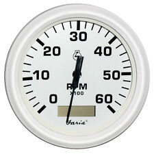"Faria Dress White 4"" Tachometer w/Hourmeter - 6,000 RPM (Gas - Inboard)"