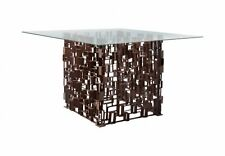 """48"""" Wide Square Metal Grate Dining Table with Glass Top Contemporary Design 134"""