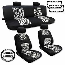 White Zebra Seat Covers Mesh Polyester Cloth 13pc Front Rear License Frames CS