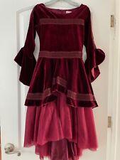 Joyfolie Mia Joy Girls 12 Red Velour Victorian High Low Dress Holiday EEUC