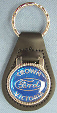 Blue Ford CROWN VICTORIA Black Leather Keyring Center Oval 1971 1972 1973 1974