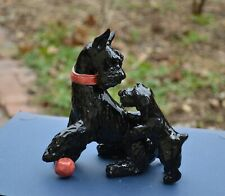 Giant Schnauzer .Mom and puppy. Handsculpted ceramic ! Ooak .Look!