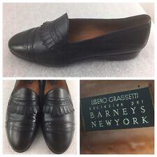 BARNEYS NEW YORK Mens Size 9 M BLACK Dress Loafers Leather W/ KILTIE ITALIAN
