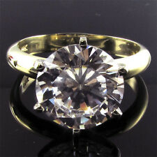 ITEM GR25050 14K Solid Gold 5ct CZ Round Briliant Cut 6 Prong Solitaire Ring