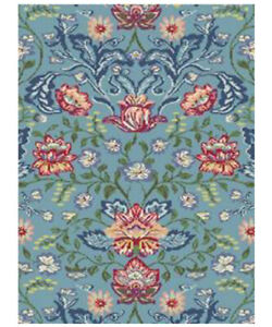 Blue Floral Living Room Rug Multicolour Transitional Rug Classic Fireplace Rugs