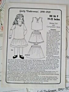 """Vintage Girl's Underwear Doll Dress Pattern for 19-22"""" Composition Doll Body"""