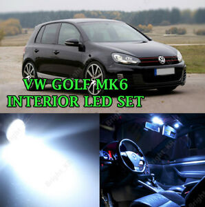 FOR VW GOLF MK6 INTERIOR UPGRADE 2008-2012 BRIGHT WHITE LED BULBS FULL LIGHT KIT