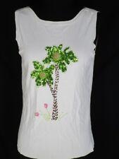 Lucia Burns White Slinky Tank Top Shirt Sequinned Tree Flowers L