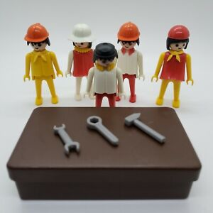 Lot of 5 Playmobil Geobra Figures with Original Accessories and Box - 1974