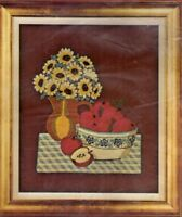 Vintage Bucilla Crewel Embroidery Kit Still Life Picture Flowers Pitcher Apples