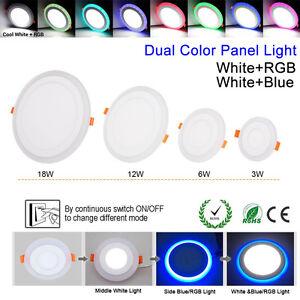 Ultra Slim 6W 9W 18W 24W Round Concealed Dual Color LED Panel Light AC100-265V
