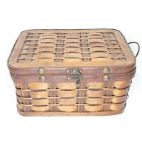 Antique Wicker Sewing Basket Box with Lid And Leather Toggle Latch - Delightful