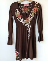 Johnny Was JWLA Floral Embroidered Dress Long Sleeve Brown XS Boho