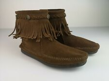 Minnetonka Moccasins Brown Suede Fringe Ankle Boots Size 7