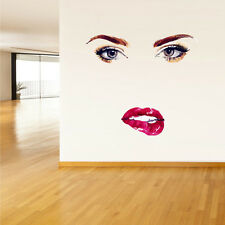 Full Color Wall Decal Sticker Face Woman Eye Lips Fashion Hair Salon (Col354)