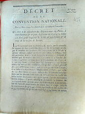 435 LOI & DECRET CONVENTION NATIONALE 1793 PARIS BILLET DE PARCHEMIN TRÉSORERIE