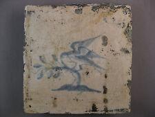 Antique Dutch tile bird rare tiles 17th century - free shipping