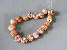 Beautiful & Rare 18 Etch Carnelian Beads Cheap Don't Miss
