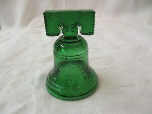 Vintage green glass Liberty Bell
