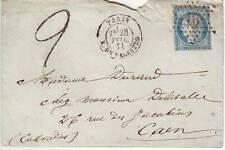 20 c SIEGE N° 37 obl etoile lettre de PARIS 28 fev 1871 et TAXEE 2 TAMPON , RARE
