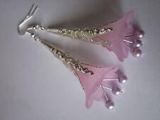 Long Drop / Dangle Earrings - Filigree Trumpet Flowers - Lilac - Silver Plated