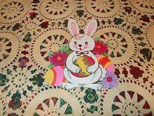 "Vtg Beistle Easter Diecut Cardboard Decoration 8"" Eggs Flowers Bunny"
