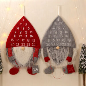 Christmas Advent Calendar Forest Old Man Santa Wall Hanging Decorations Ornament