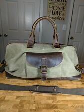Genuine Leather And Canvas Duffle Bag With Saddle Pocket Color Tan Brown 23""