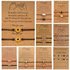 2Pcs/set Rainbow Sunflower Love Heart Bracelet Rope Friendship Couple Adjustable
