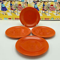 """4 Vintage Fiesta Bread & Butter Plates 6 1/4"""" Original Color Red Radioactive Red"""