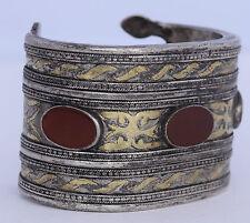 Old TURKOMAN tribal ethnic XL heavy bracelet Carnelian sterling silver Gold leaf