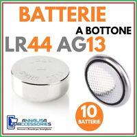 10 BATTERIE ALCALINE LR44 AG13 1.5 V VOLT PER OROLOGIO AUTO STOCK PILE A BOTTONE