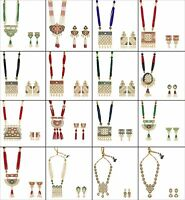 Indian Bollywood Necklace Style Gold Plated Bridal Wedding Fashion Jewelry Set