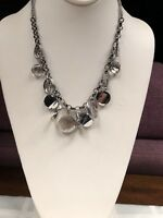 Designer marcasite glass colored crystal rhinestones silver Statement necklace