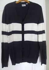WESC NEW S Small Gray White Anson Snap Front Long Sleeve Knitted Cardigan