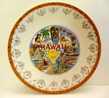 Vintage Hawaii Souvenir Plate, Map, Volcano