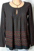 PROMOD Bluse Gr. S schwarz Punkte A-Linie Langarm Shirt Bluse/Tunika