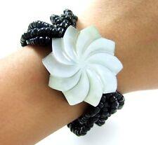 """Flower Mother of Pearl Shell Stretch Cuff Bracelet 6""""-9"""" Adj Women Jewelry AA120"""