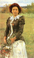 Perfect art Oil painting REPIN, ILIYA EFIMOVICH - Nice young woman with bouquet