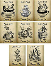 Vintage inspired Alice in Wonderland Drink Me tea bag envelopes party favor