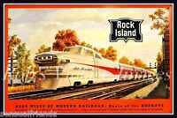 Rock Island Jet Rocket Vintage Railroad Poster 1950s Train Locomotive