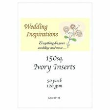 Craft UK card inserts Pack of 50 square 6 x 6 inch size ivory colour  W116