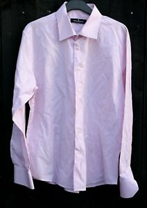 """TED LAPIDUS Mens Long Sleeve Shirt Classic XL White Pink Stripes 44"""" Cotton"""