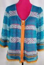 IVY JANE Multi-color Zip-up Crochet Hippie Boho Cardigan  Sz Large